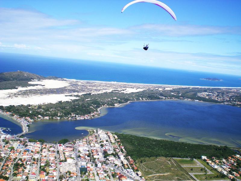Paragliding over Praia Mole in Florianopolis